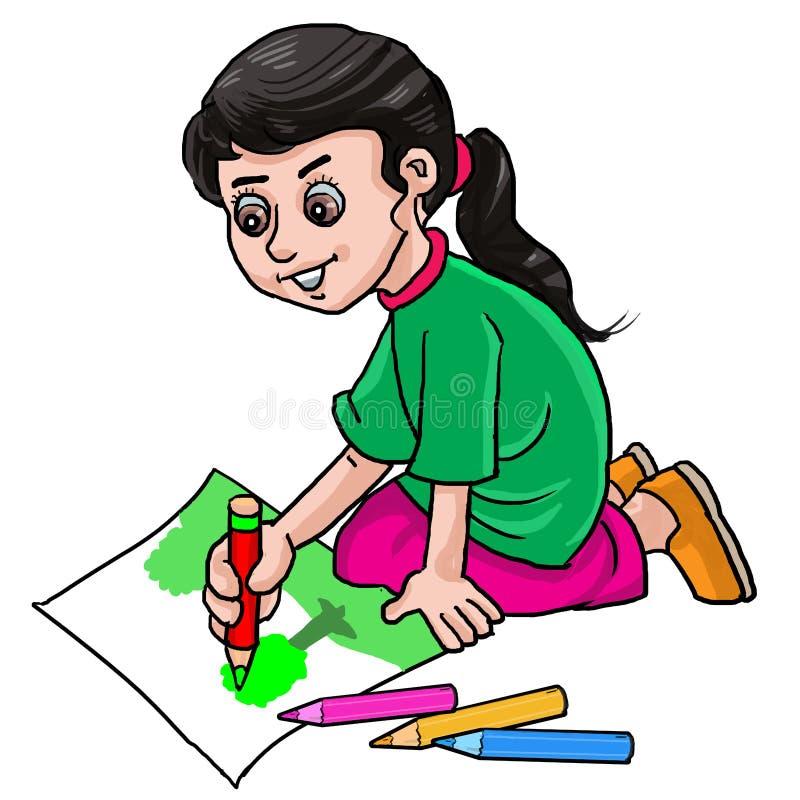 Goedaardige Cute Kid meisje dat op papier tekent met een potloodkleur royalty-vrije illustratie