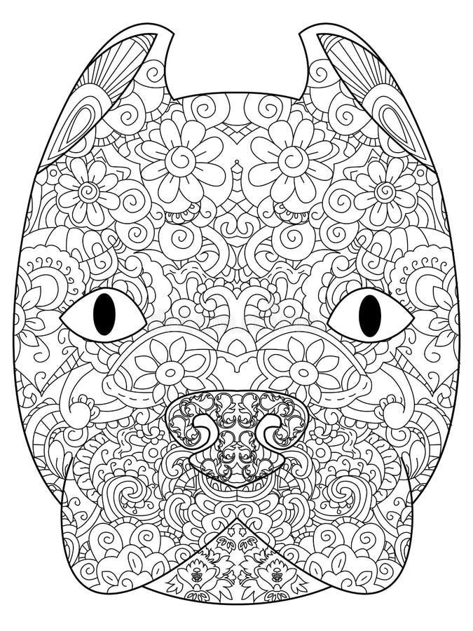 Goede Amerikaanse hoofd het kleuren van Pit Bull Terrier vector voor volwassenen royalty-vrije illustratie