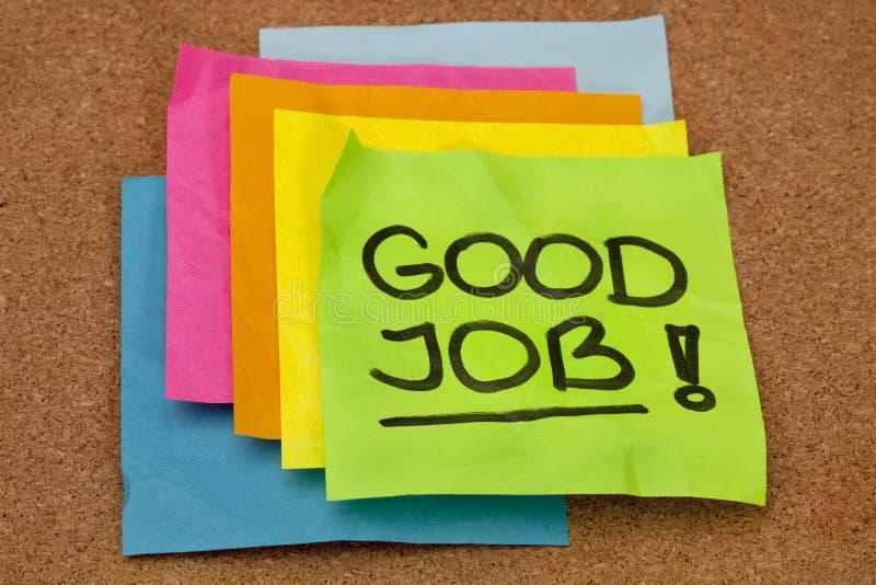Goede baan - compliment stock afbeelding