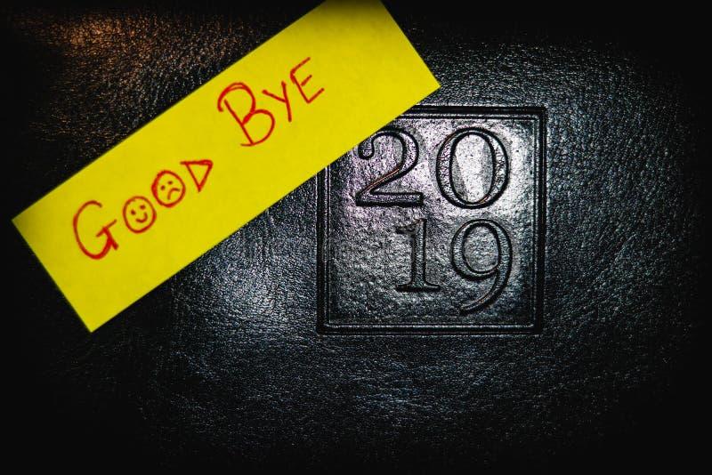GOEDE BYE 2019 LOGO VAN DIARY stock afbeeldingen