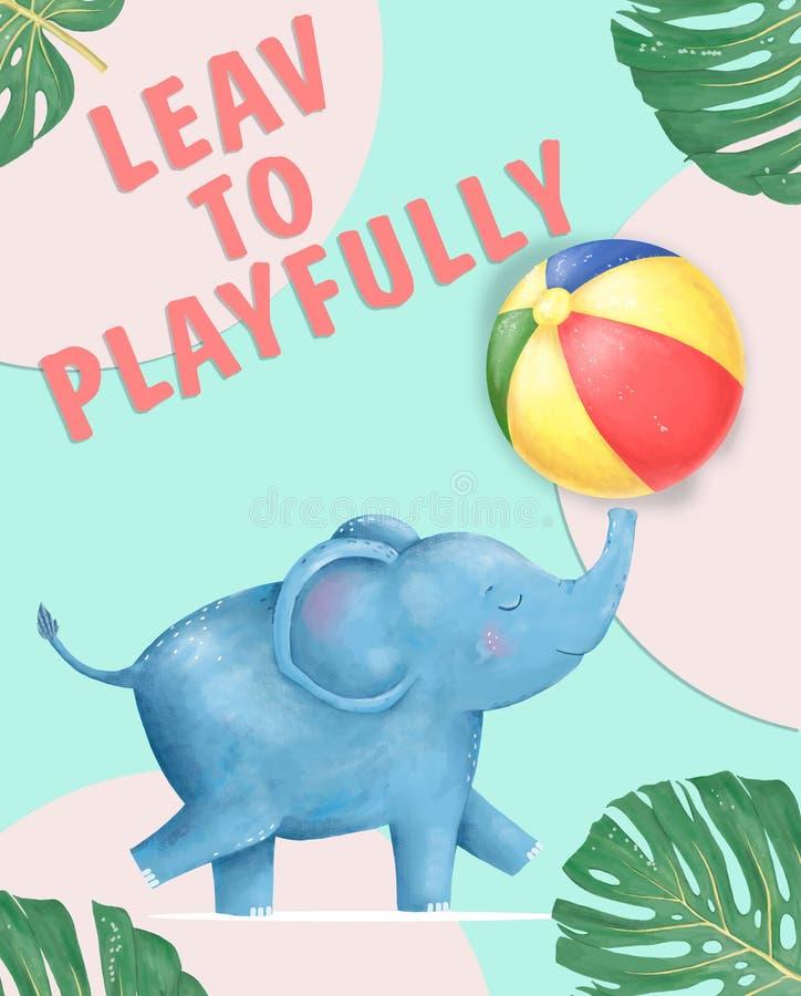 Goede Gelukkige de verjaardagskaart van de Babyolifant met het leuke dier van de Olifantswaterverf Leuke de groetkaart van de BAB vector illustratie