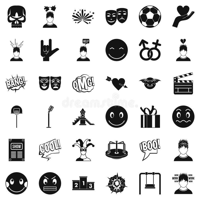Goede geplaatste emotiepictogrammen, eenvoudige stijl royalty-vrije illustratie