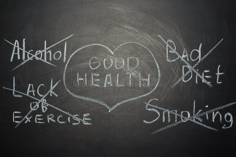 goede gezondheidsuiteinden op een zwarte raad Een concept voor artsen stock afbeeldingen