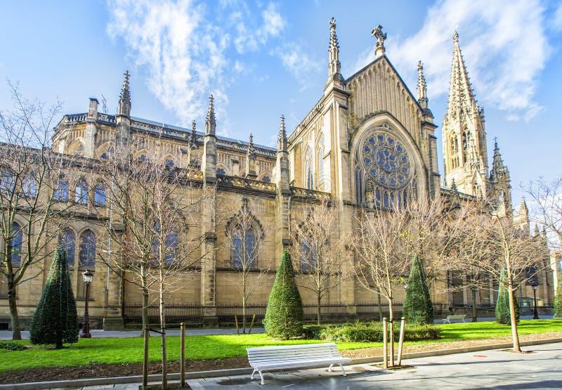 Goede Herder Cathedral van San Sebastian, Baskisch San Sebastian, royalty-vrije stock afbeeldingen