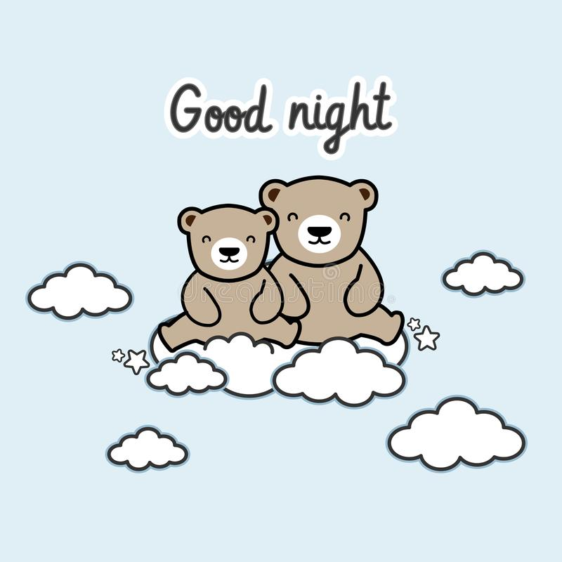 Goede nachtkaart Leuke beren op de wolk vector illustratie