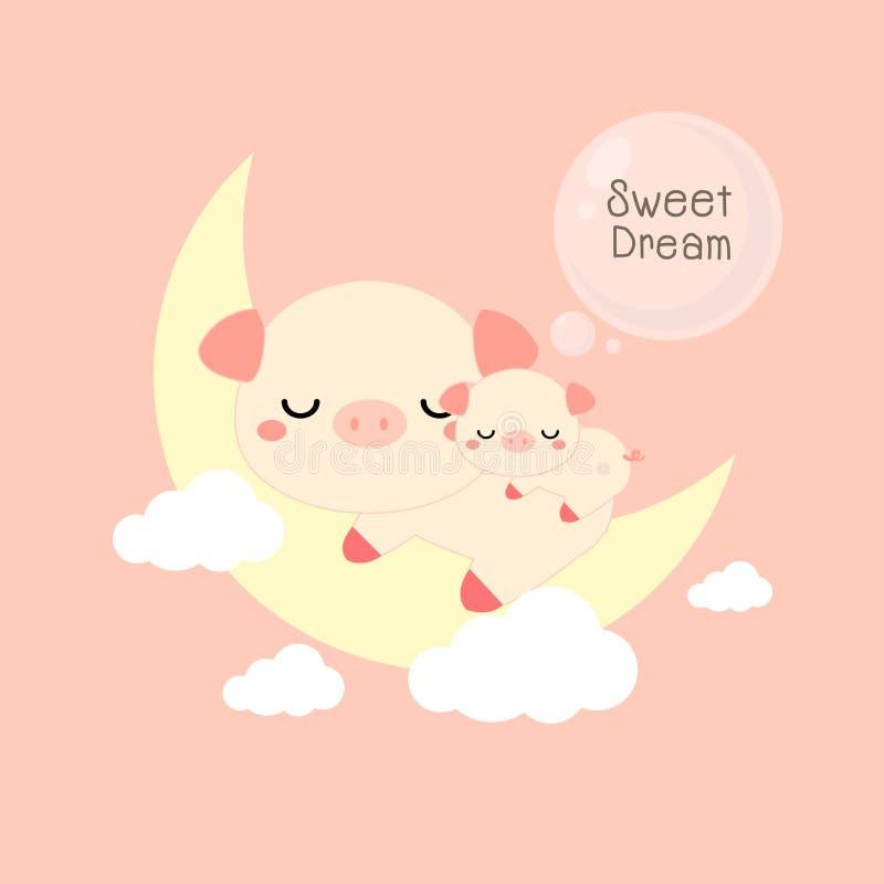 Goede nachtkaart Leuke varken en babyslaap op de maan Vector illustratie stock illustratie