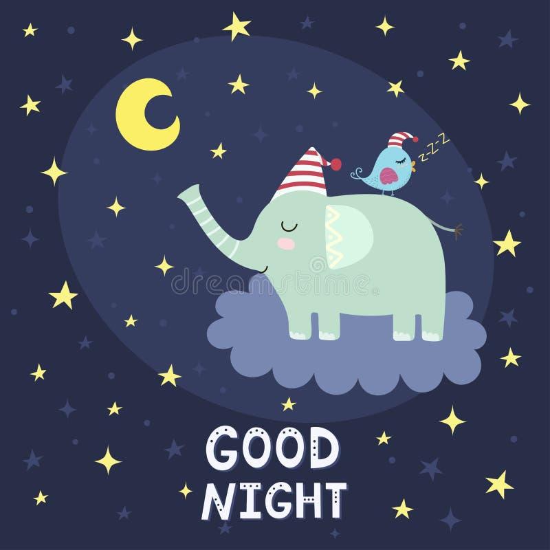 Goede nachtkaart met leuke olifant die op de wolk vliegen royalty-vrije illustratie