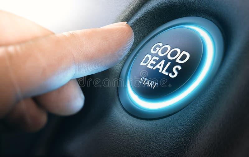 Goede Nieuwe Autoovereenkomsten, Autoverkoop stock illustratie