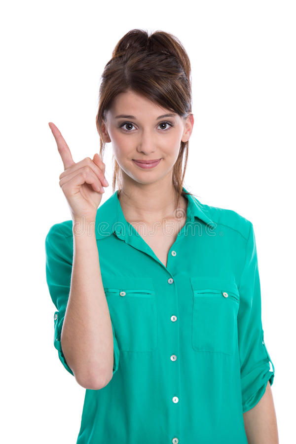 Goede raad: vrouw met omhoog vinger wordt geïsoleerd die. stock foto