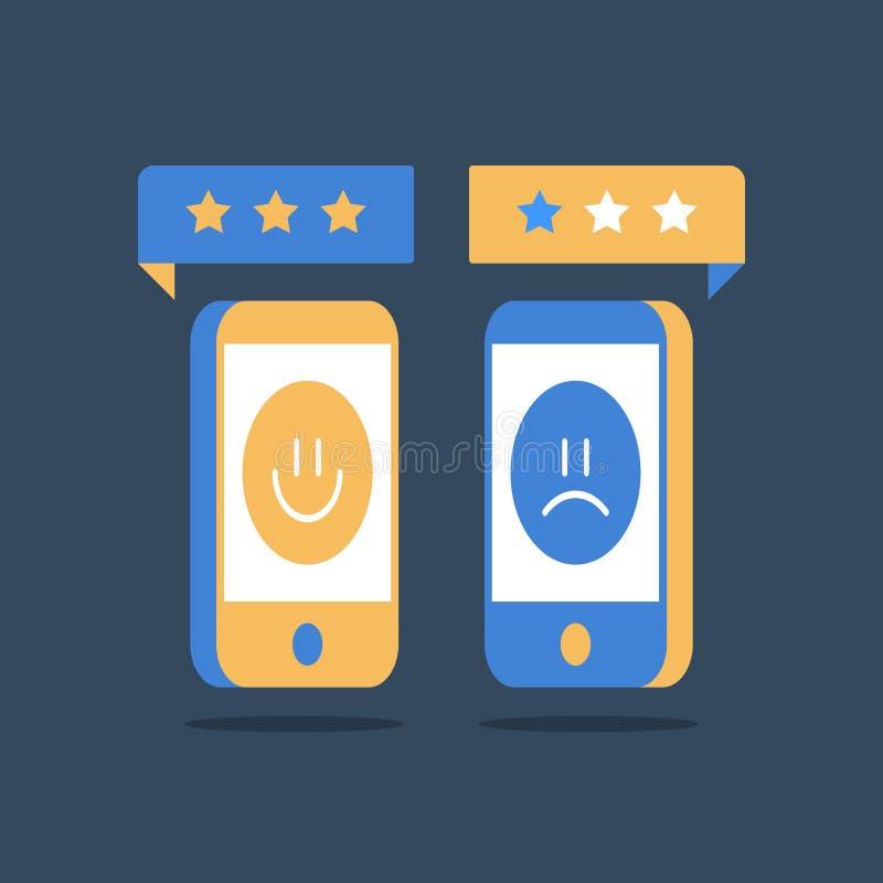 Goede of slechte klantenrating, online overzicht, van de de dienstkwaliteitsevaluatie, gelukkige of ongelukkige ervaring, advieso royalty-vrije illustratie