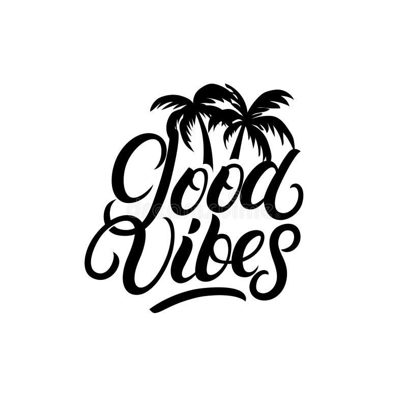 Goede Vibes-hand geschreven het van letters voorzien met palmen royalty-vrije illustratie