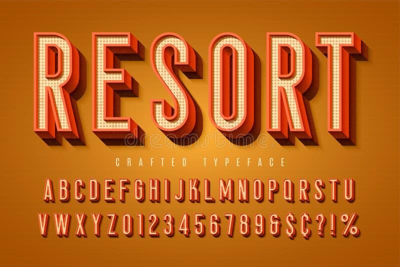 Goede vibes retro lettersoort 3d vertoningsdoopvont, aanplakbiljettypografie royalty-vrije illustratie