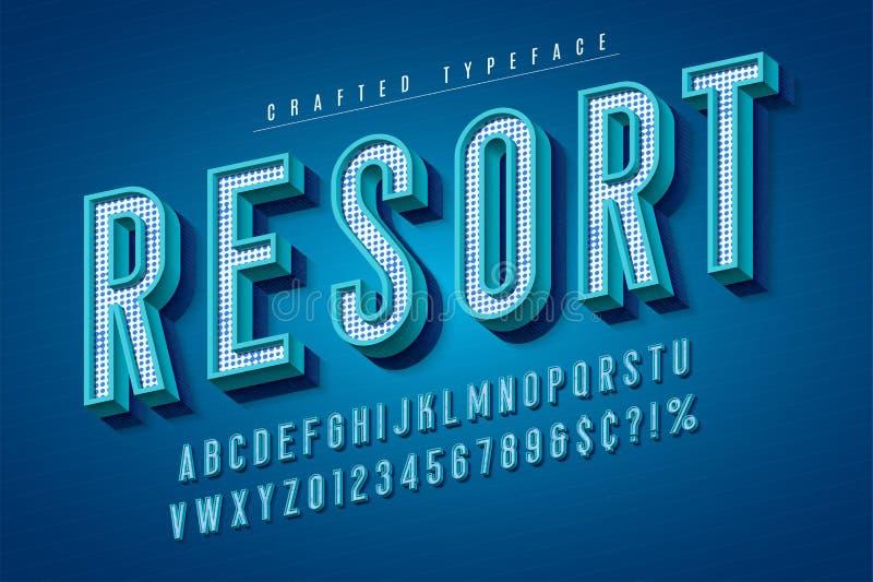 Goede vibes retro lettersoort 3d vertoningsdoopvont, aanplakbiljettypografie stock illustratie