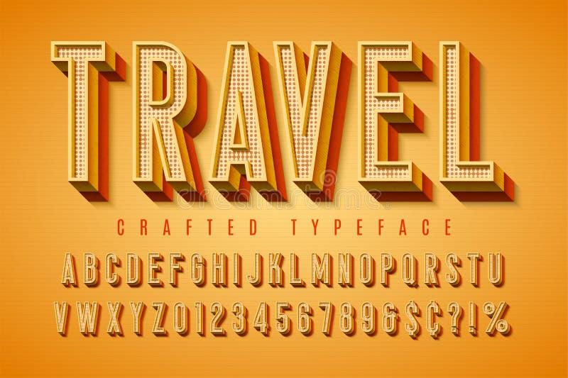 Goede vibes retro lettersoort 3d vertoningsdoopvont, affiche stock illustratie