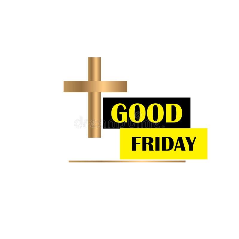 Goede Vrijdagillustratie voor christelijke godsdienstige gelegenheid met kruis Kan voor achtergrond, groeten, banners worden gebr royalty-vrije illustratie