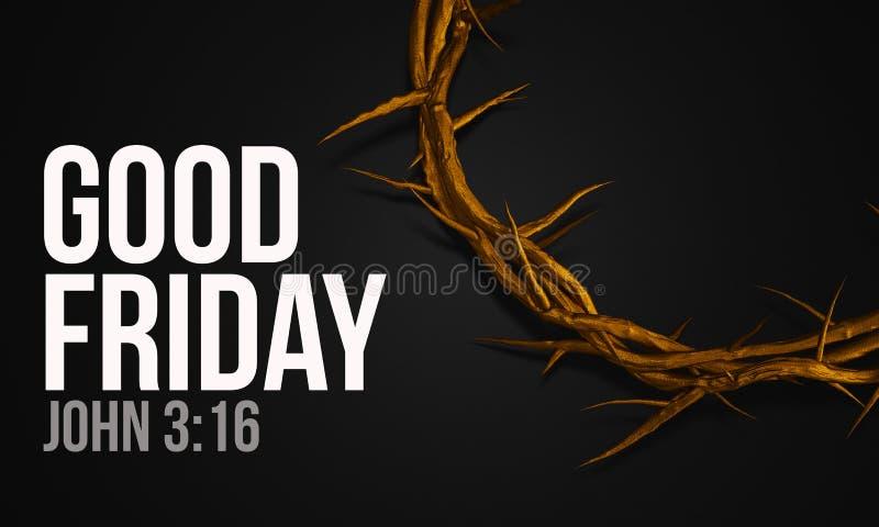 Goede Vrijdagjohn 3:16 Gouden Kroon van Doornen het 3D Teruggeven vector illustratie