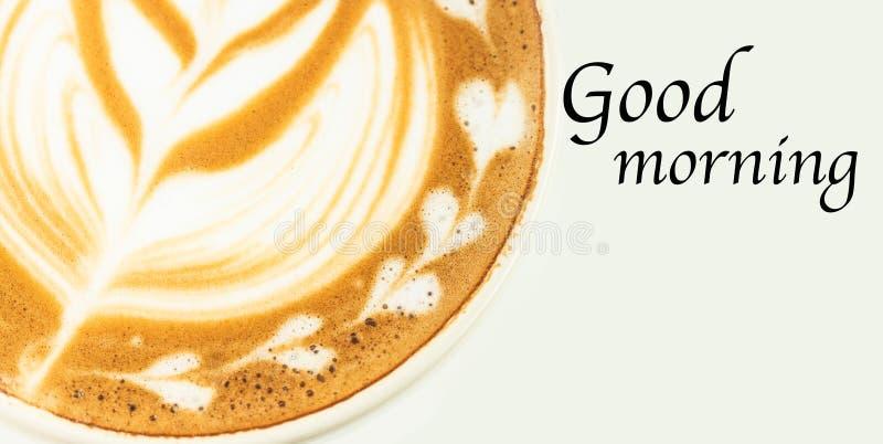Goedemorgen en koffie in de ochtend royalty-vrije stock foto