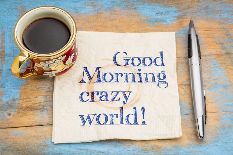 Goedemorgen gekke wereld! royalty-vrije stock afbeelding