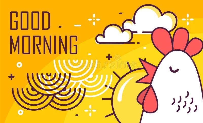 Goedemorgenaffiche met haan, zon en golven op gele achtergrond Dun lijn vlak ontwerp Vector vector illustratie