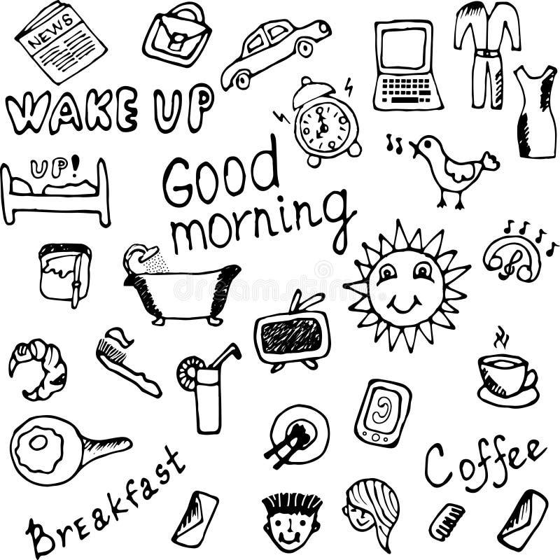 Goedemorgenpictogrammen geplaatst illustratie royalty-vrije illustratie