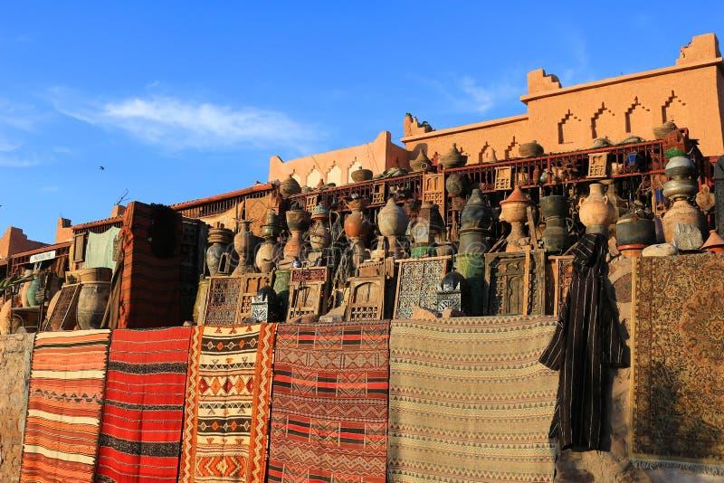 Goederen voor verkoop in Marokko stock afbeeldingen