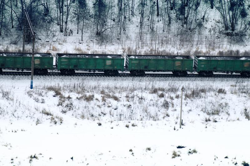 goederentrein die zich door naaldbos tijdens sneeuwval bewegen stock afbeelding