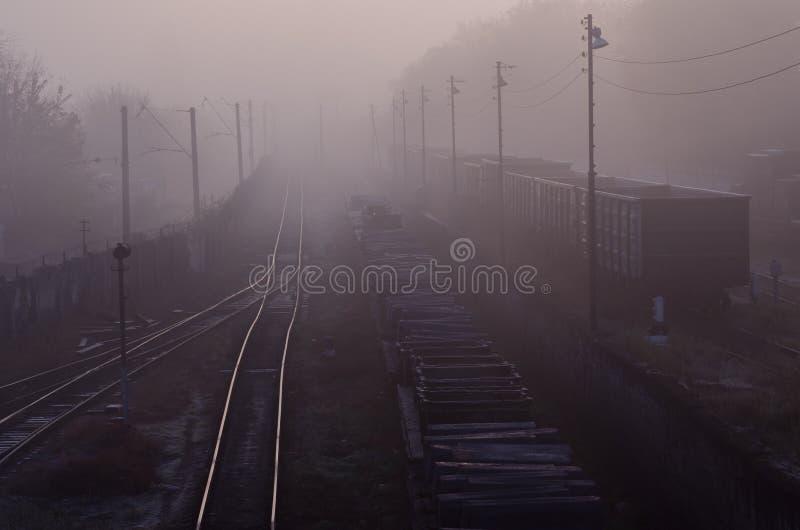 Goederentreinen op de spoorwegsporen in de ochtendmist stock afbeelding