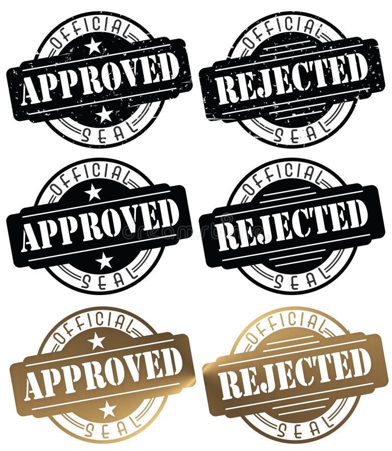 Goedgekeurd de Verbindingsembleem van de Zegelverbinding Verworpen Zegel royalty-vrije illustratie