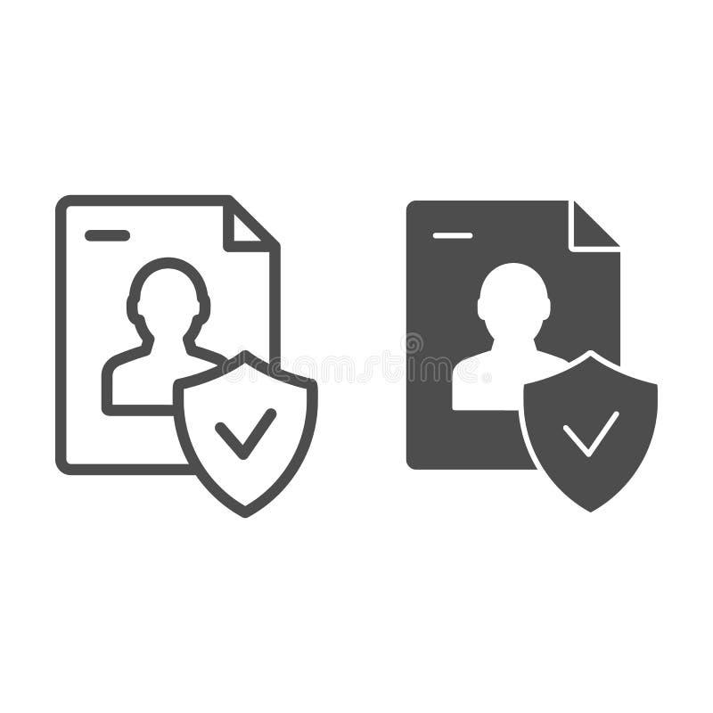 Goedgekeurd persoonlijk documentlijn en glyph pictogram Gecontroleerde identiteits vectordieillustratie op wit wordt geïsoleerd D stock illustratie