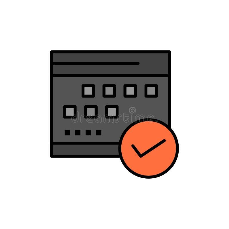 Goedgekeurd programma, Zaken, Kalender, Gebeurtenis, Plan, Pictogram van de Plannings het Vlakke Kleur Het vectormalplaatje van d stock illustratie