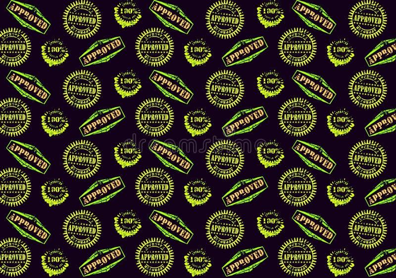 Goedgekeurd stempel naadloos patroon op de donkere achtergrond Illustratieontwerp royalty-vrije stock foto
