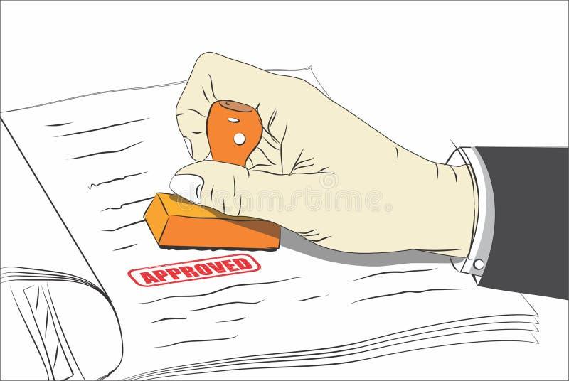 Goedgekeurd Zegeldocument de Overeenkomsten van de Overeenkomstenlening Rood Als achtergrond stock illustratie