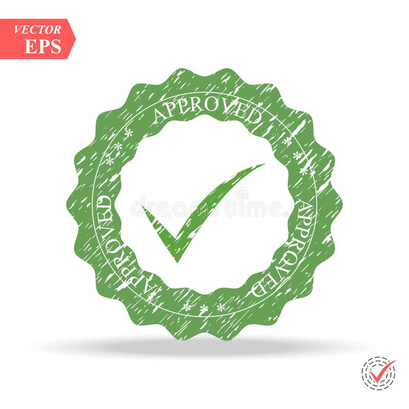 Goedgekeurde Kwaliteitsbeheersing Tiksymbool in groene kleur, vectorillustratie Goedgekeurde Zegel royalty-vrije illustratie