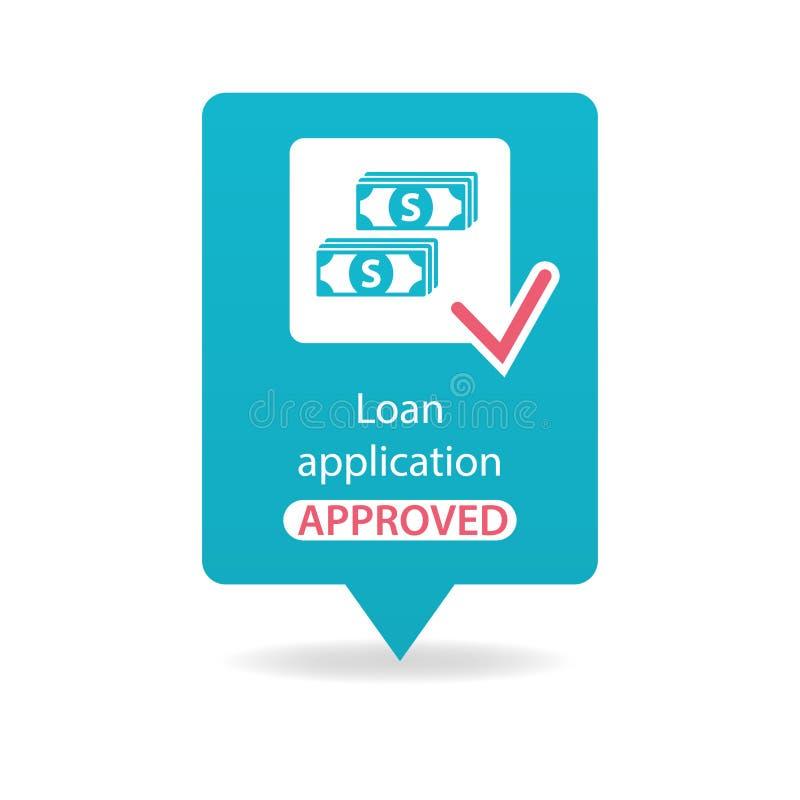 Goedgekeurde leningstoepassing stock illustratie