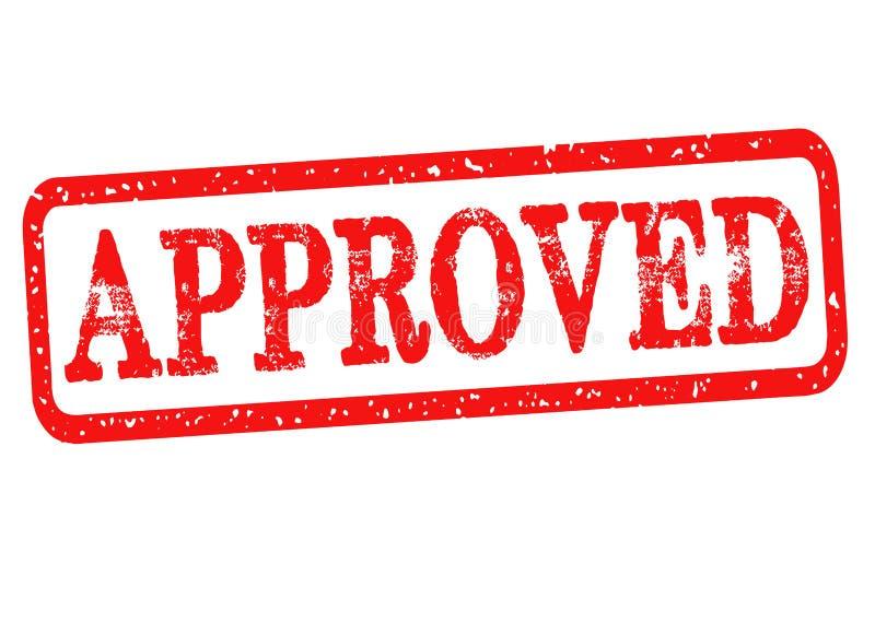 Goedgekeurde rubberzegel met rode die teksten op witte achtergrond worden geïsoleerd Vector illustratie stock illustratie
