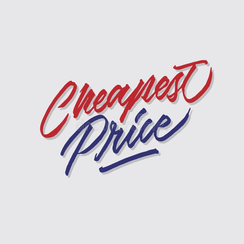 Goedkoopste prijshand het van letters voorzien typografie verkoop en marketing signage van de winkelopslag affiche stock illustratie
