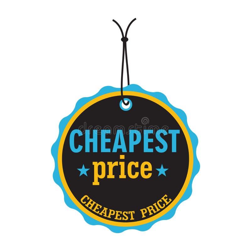 Goedkoopste prijskaartje stock illustratie