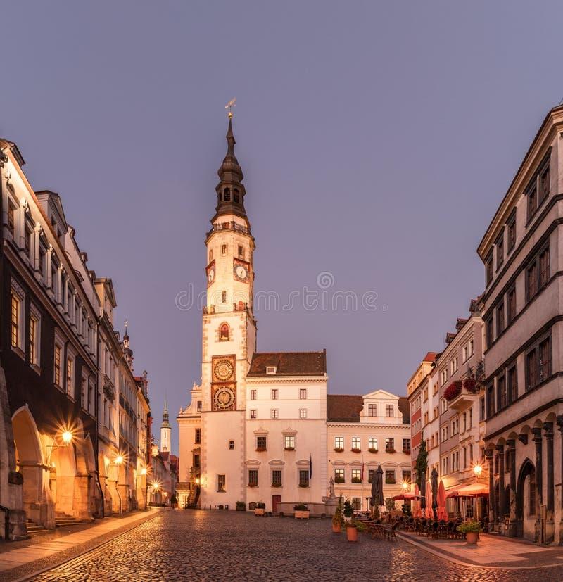 Goerlitz с ратушей, восточной Германией, Европой стоковые изображения rf