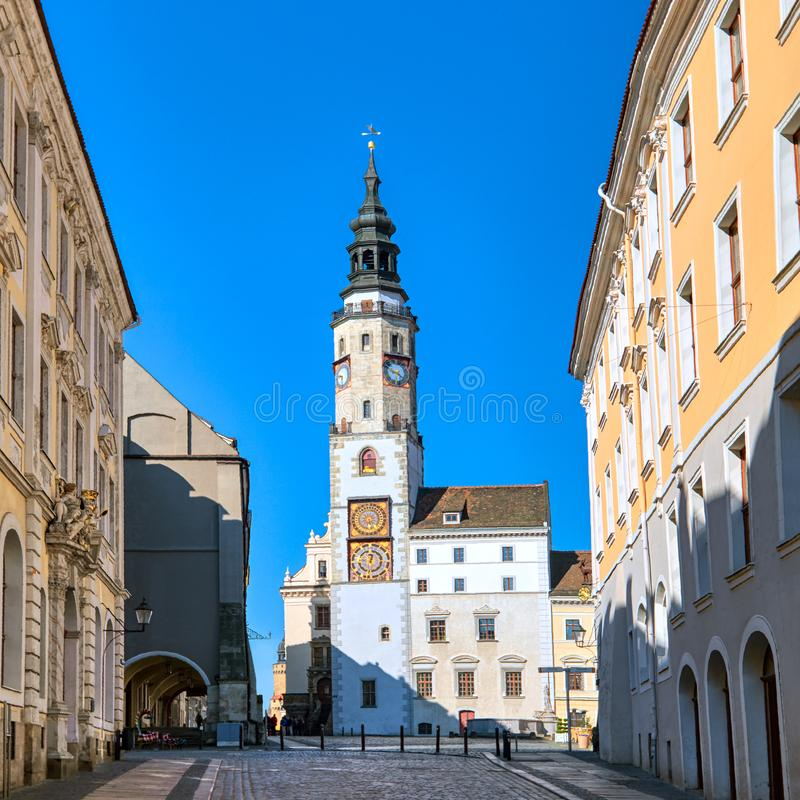 Goerlitz, Germany,  historical houses and church on main square stock photography