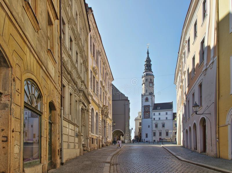 Goerlitz old tower from townhall stock photo