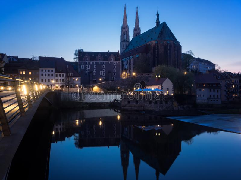 Goerlitz, Saxony, Germany - 2018/04/17: cityscape with St. Peter and Paul church at Blue hour stock photo