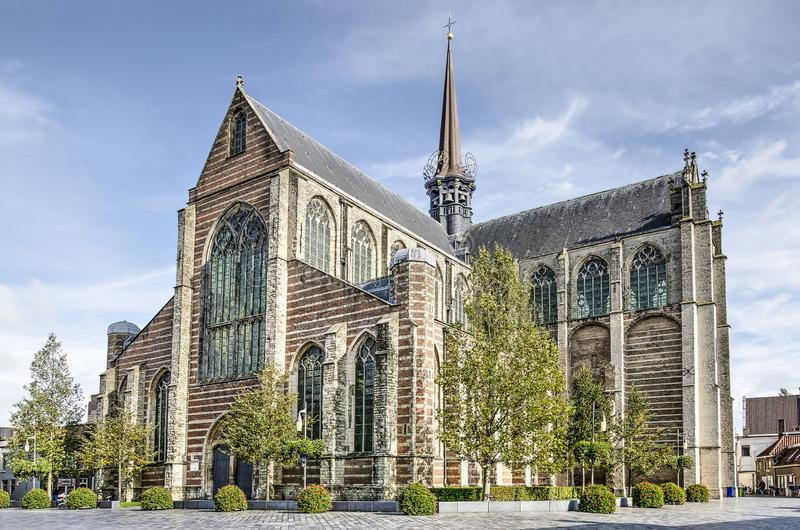 Goes church of Mary Magdalene. Goes, The Netherlands, October 9, 2019: view from the southwest towards the 14th century Grote Kerk, or church of Mary Magdalene stock photos