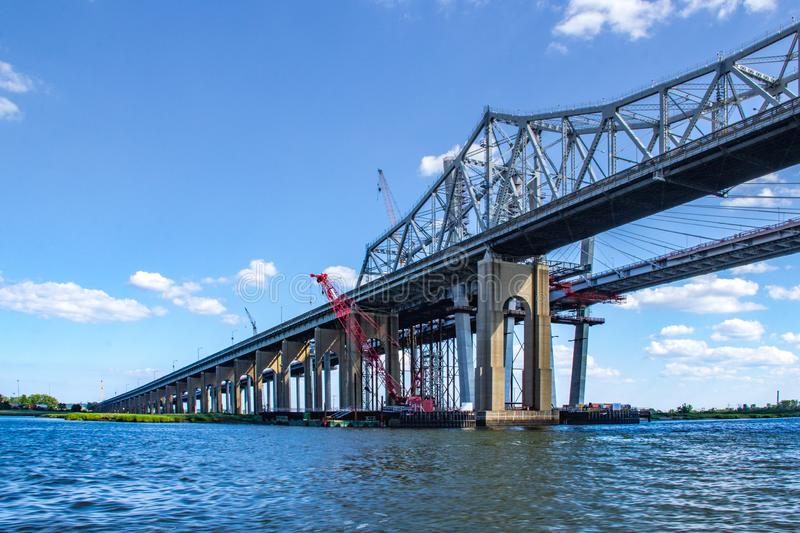 The Goethals Bridge over the Arthur Kill Connecting Staten Island and NYC royalty free stock photo