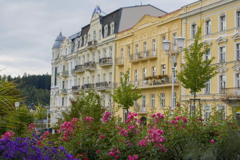 Goethe quadrieren - Mitte der kleinen böhmischen Badekurortweststadt Marianske Lazne Marienbad - Tschechische Republik stockfotos