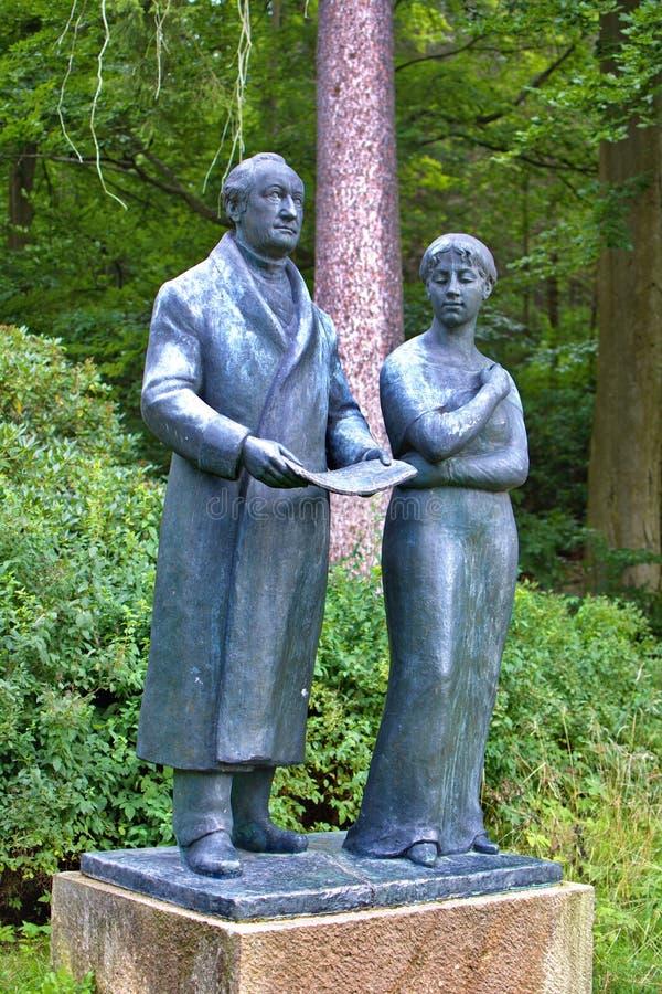 Goethe und sein Muse Ulrike - Kurpark in Marianske Lazne Marienbad - Tschechische Republik stockbild