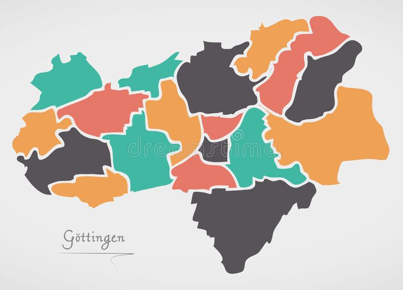 Goettingen Map with boroughs and modern round shapes. Illustration vector illustration