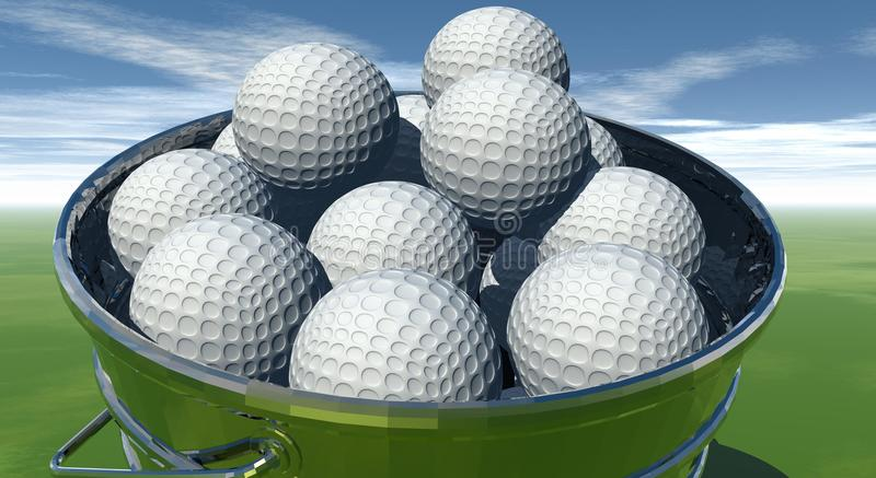 Gofl balls in bucket royalty free stock images