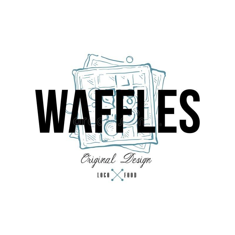 Gofra karmowego loga oryginalny projekt, retro emblemat dla piekarnia sklepu, kawiarnia, restauracja, kulinarny biznes, gatunek t royalty ilustracja
