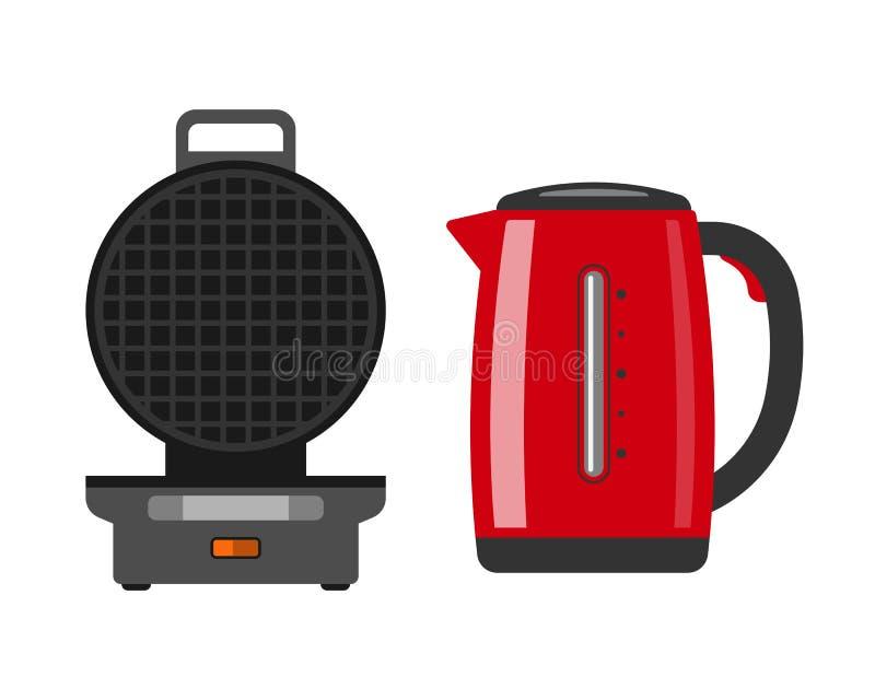 Gofra producenta maszynowy łatwy robić jedzenia urządzenia kuchni kucharza śniadaniowemu narządzaniu i deserowemu kitchenware opł royalty ilustracja