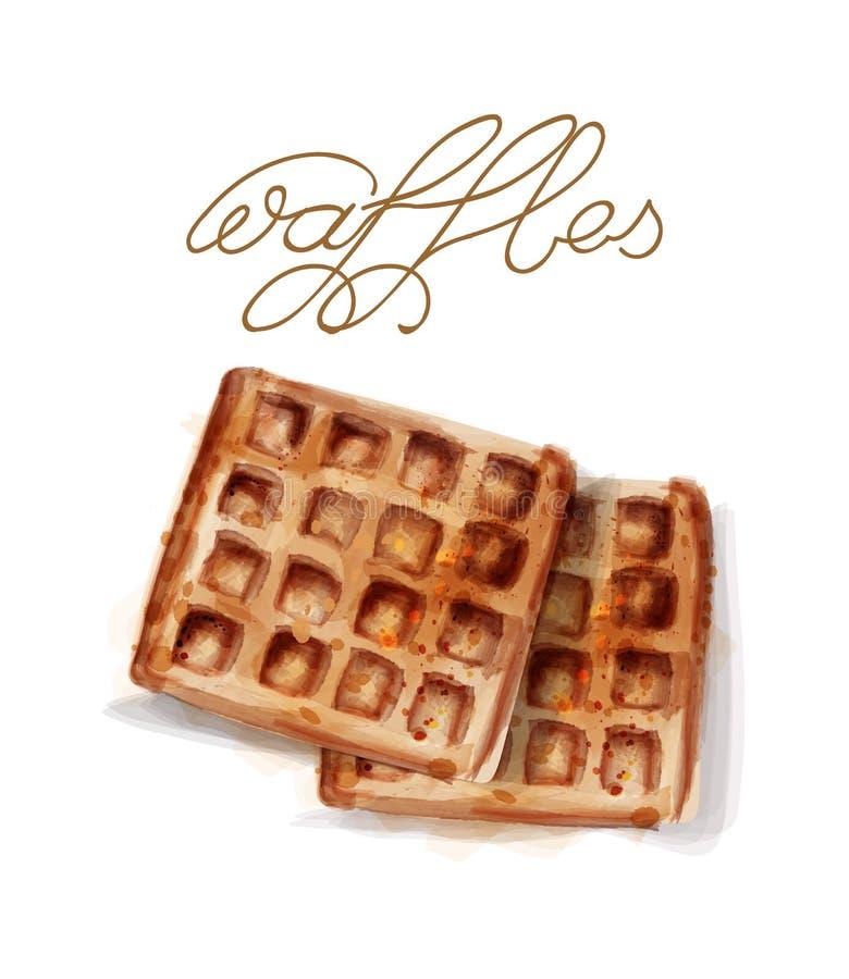 Gofra wektoru akwarela śniadaniowi prości świezi gofry ilustracji